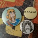 My first badges made with my badgemaking machine, Promarkers and drawing pen (Feb 2017).